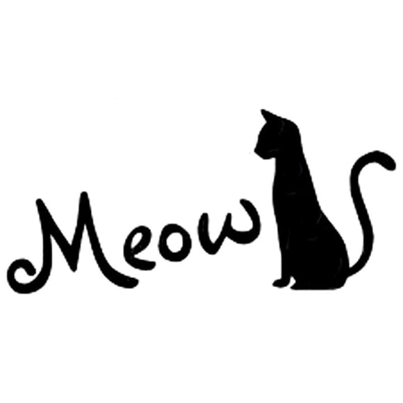 15.5CM*7.4CM Meow Cat Kitty Kitten Cute Funny Car Sticker Decal Vinyl Window Car Accessories Car Styling Black/Sliver C8-0219