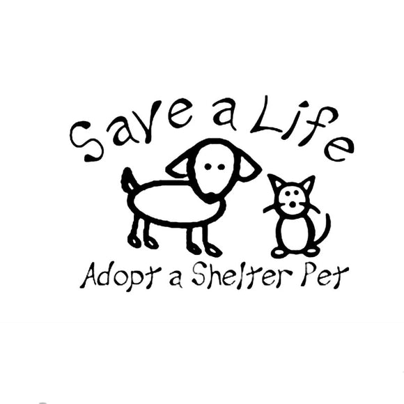 15.9CM*11CM Save A Life Adopt A Shelter Pet Car Or Truck Decal Car Sticker Car Motorcycle Accessories Black Sliver C8-1269