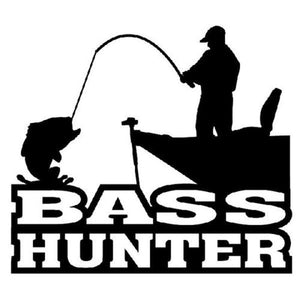 15CM*13.5CM Bass Hunter Decal Sticker Car Window Fishing Rods Reels Bait Casting Boats Lake Car Sticker C8-0125