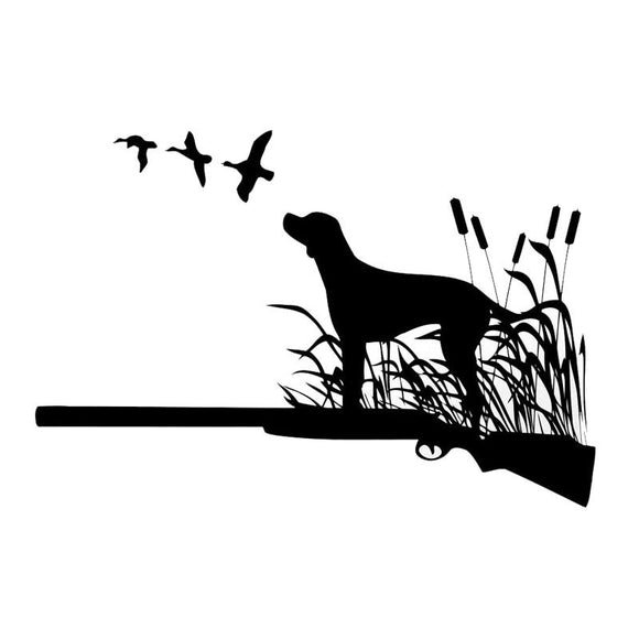 16*10.8CM Hunting Dog Car Stickers Waterproof Vinyl Decal Car Styling Bumper Accessories Black/Silver S1-0823