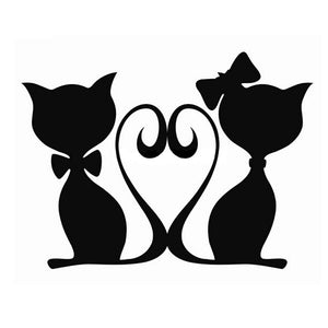 16*12CM CATS LOVE Pet Cat Car Stickers Decals Motorcycle Fun Car Styling Black/Silver C2-0168