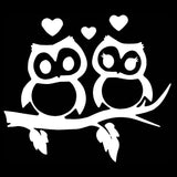 16.5*14.5CM Lovely Owls Couple Heart Car Styling Decal Reflective Vinyl Car Stickers Black/Silver S1-2340