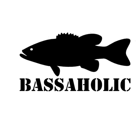16.5CM*8.6CM Bassoholic Bass Fishing Fisherman Reflective Car Styling Car Stickers Decorating Stickers Black/Sliver C8-0775