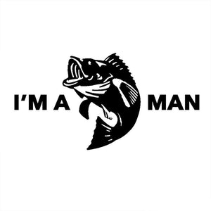 16.5CM*8.7CM I'm a Bass Man Vinyl Funny Decal Bass Fishing Outdoors Humor Decoration Decal Styling Black Sliver C8-0714