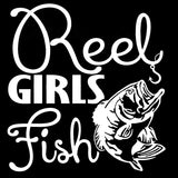16.7CM*17.8CM Full Size Reel Girls Fish Vinyl Decals With Bass For Fishing Car Styling Funny Car Sticker Black Sliver C8-1079
