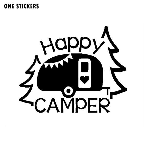 16CM*12.9CM Personalized Lettering Art Happy Camper Vinyl Decal Car Sticker Black/Silver C11-1329