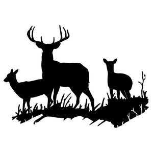 17.5*12.5CM Interesting Deer Family Car Styling Waterproof Vinyl Car Stickers And Decal Black/Silver S1-2560