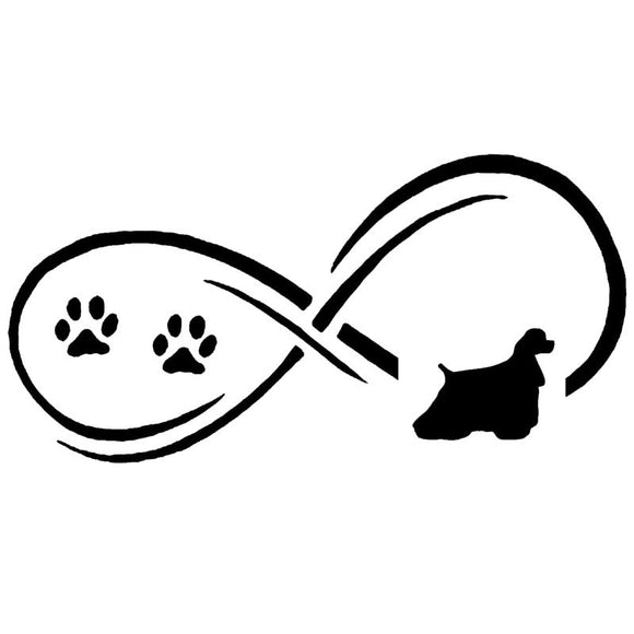 17.7*8.9CM Cocker Spaniel Dog Paw Print Vinyl Decal Car Stickers Car Styling Bumper Decoration Black/Silver S1-1283