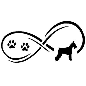 17.7*8.9CM Schnauzer Dog Paw Print Car Stickers Fashion Vinyl Decal Car Styling Truck Decoration Black/Silver S1-0771