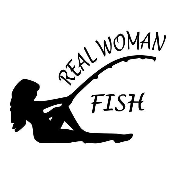 17.8CM*12.9CM Real Women Fish Bass Fishing Sticker Bass Lure Crank Bait Decals Car Styling Stickers Black/Sliver C8-1361