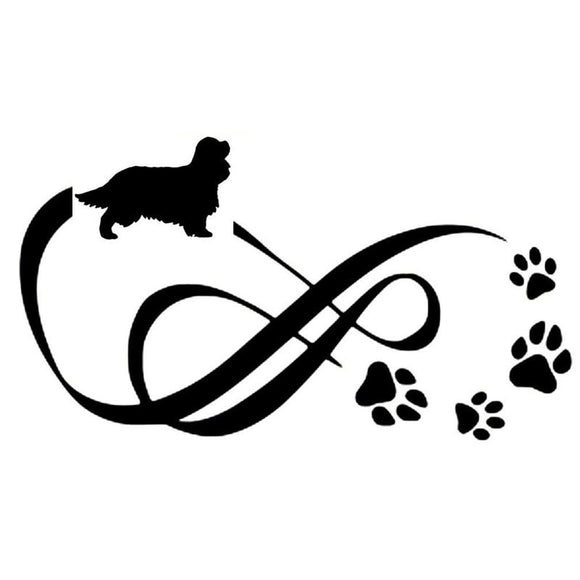 18*10CM Cavalier King Charles Spaniel Animal Paw Print Car Stickers Vinyl Decal Car Styling Decoration Black/Silver S1-0699