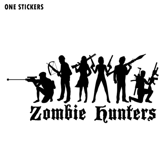 16x7.3CM Interesting ZOMBIE Hunter Vinyl Car-styling Decals Car Stickers Black/Silver Accessories S8-1213