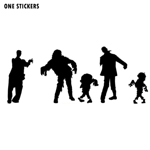 18*7.4CM Cartoon Funny ZOMBIES Monster Silhouettes Car Stickers Decals Black/Silver Vinyl S8-1278
