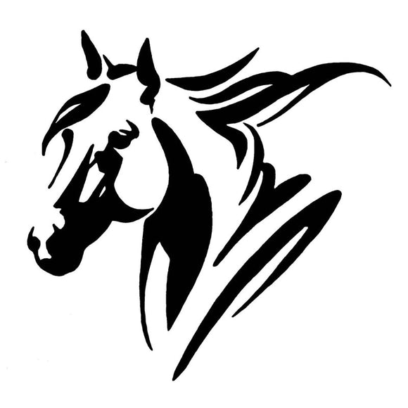 20*19.3CM Creative Car Styling Horse Head Vinyl Reflective Car Sticker And Decal Black/Silver S1-2112
