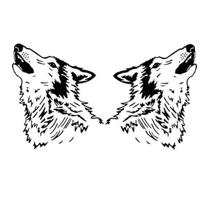 20*22.8CM 2PCS Symmetric Cool Wild Wolf Head Car Sticker Vinyl Creative Car Styling Decal Black/Silver S1-2320