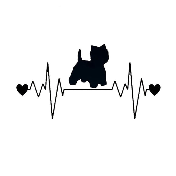 20.3*10.6CM Westie Dog Heartbeat Lifeline Vinyl Decal Stylish Car Stickers Car Styling Truck Accessories Black/Silver S1-1320