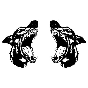 20.3*11.8CM Left & Right Doberman Pinscher Dog Vinyl Decal Waterproof Car Stickers Car Styling Decoration Black/Silver S1-0351