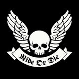 20X17.2CM RIDE OR DIE Skull Wings Ribbon Originality Vinyl Decal  Black/Silver Car Sticker S8-0692