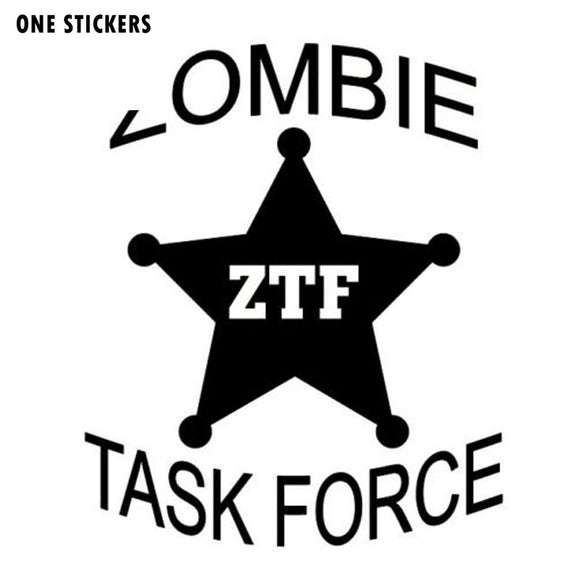 9*10.9CM ZOMBIE Task Force Badge Funny Decals Motorcycle Car Sticker Black/Silver Vinyl S8-1232