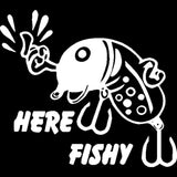 "22.9CM*20.5CM ""Here fishy"" Lure Vinyl Decal Car Sticker Fishing Boat River Lake Car Stylings Decoration Black Sliver C8-1098"