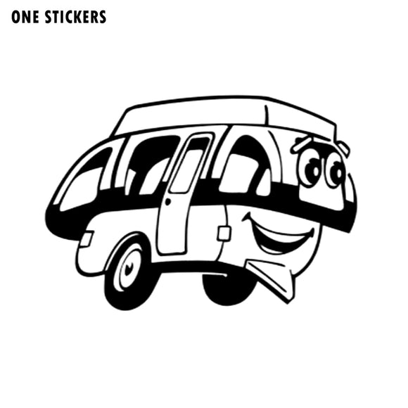 17.2CM*12CM Cartoon Fun Happy Camper Vinyl Car Window Sticker Decal Black/Silver Graphical C11-1320