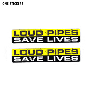 15CM*3CM Warning LOUD PIPES SAVE LIVES Funny PVC Car Sticker Body Decal 12-0019