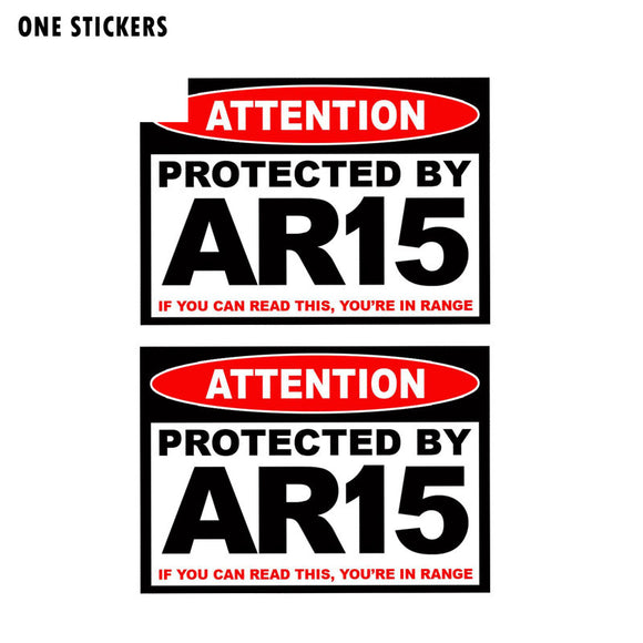 11CM*7.8CM Protected AR15 Warning Gun Reflective Car Sticker Decal PVC 12-0508