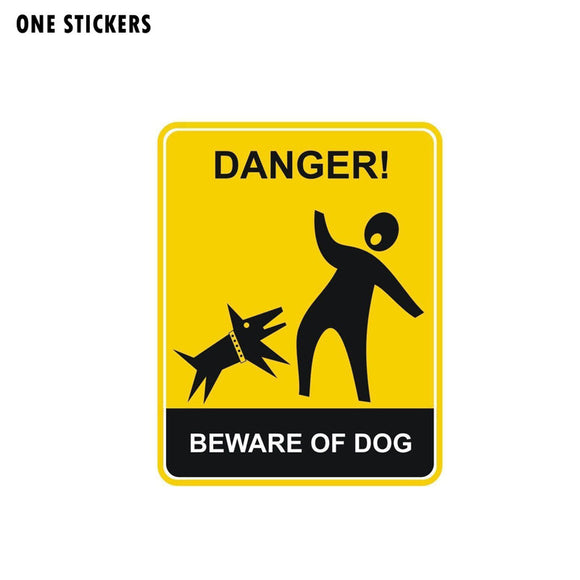 10.2CM*13CM Funny Danger Beware of the Dog Car Sticker Decal PVC Accessories 12-1559