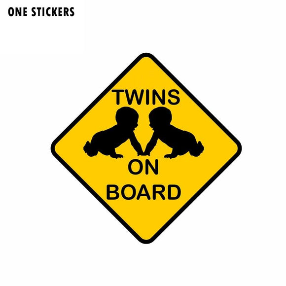 13.1CM*13.1CM TWINS ON BOARD Car Sticker Lovely Baby Decal PVC 12-40007