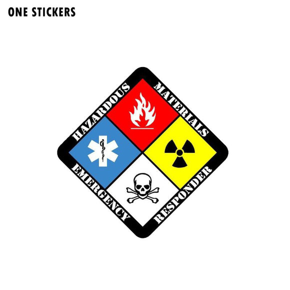 12.7CM*12.7CM Hazmat Materials Responder Emergency Car Sticker Firefighter Funny Decal PVC 12-0711