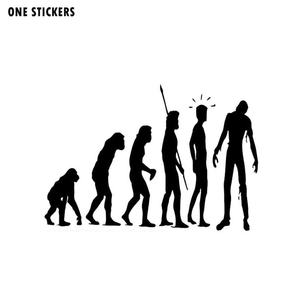 16*11CM Evolution Evolutionary Chain ZOMBIE Fashion Vinyl Decals Motorcycle Car Stickers Black/Silver S8-1269