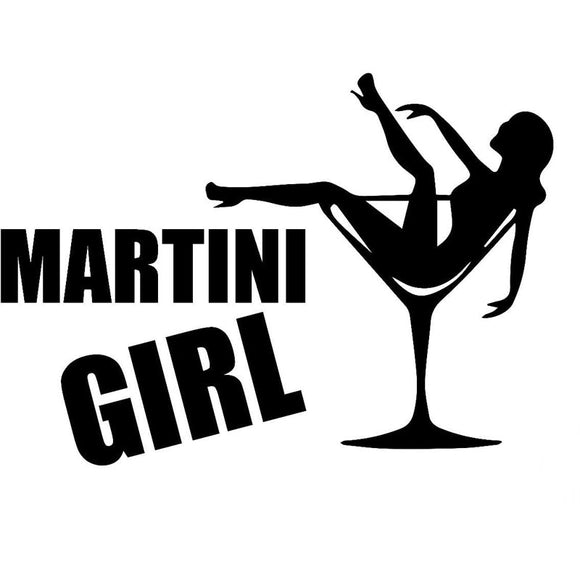 29.2CM*20.7CM Martini Girl Car Truck Bumper Vinyl Decal Sticker Funny Car Stickers Car Styling Black Sliver C8-1161