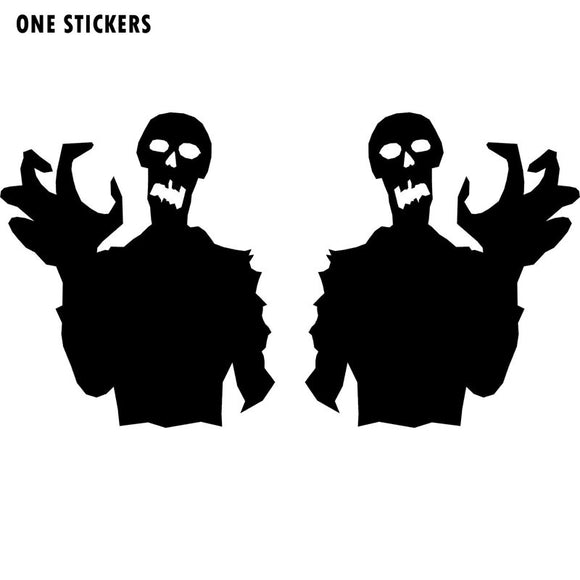 7.8X9CM Terrible ZOMBIE Ghoul Monster (Left & Right) Silhouette Vinyl Decal Car Sticker Black/Silver Car-styling S8-1251