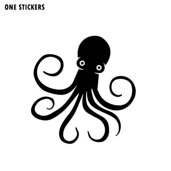 14.6cm*15.9cm Sprightly Lovable Mollusk Multi Legged Bright Octopus Vinyl Black/Silver Car Sticker Decal C18-0207