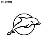 16.9cm*10.6cm Lively And Lovely Dancing Freely In The Circle Dolphin Black/Silver Vinyl Car Sticker Decal C18-0182