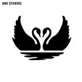 16cm*11.9cm Funny Swan Birds Animals Heart Love Couple Decoration Car Sticker Decal Black Silver Vinyl Graphical C15-1089
