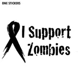 12x7.4CM Fashion I Support ZOMBIE Support Ribbon Vinyl Car Sticker Decal Accessories S8-1218