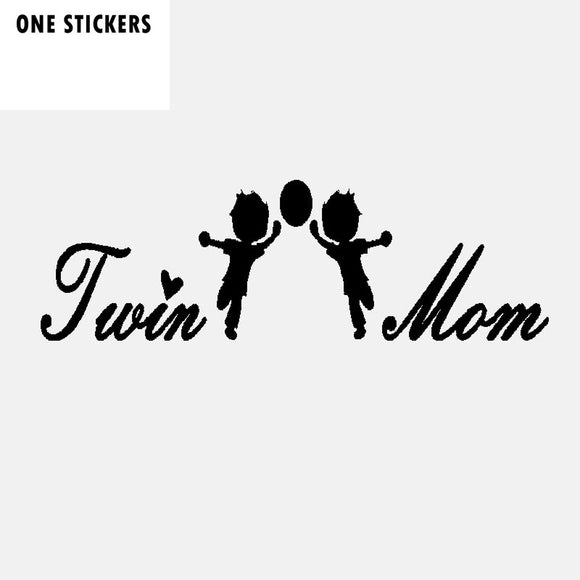 16.4CM*5.1CM Fashion Twin Boys Mom Vinyl Car Window Sticker And Decal Black Silver C11-1692