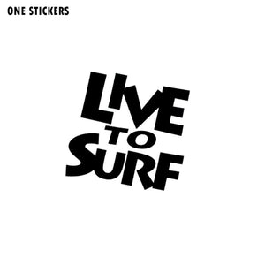 14CM*13.3CM Fashion LIVE TO SURF Vinyl Car-styling Car Sticker Decal Accessories Black/Silver C11-0466