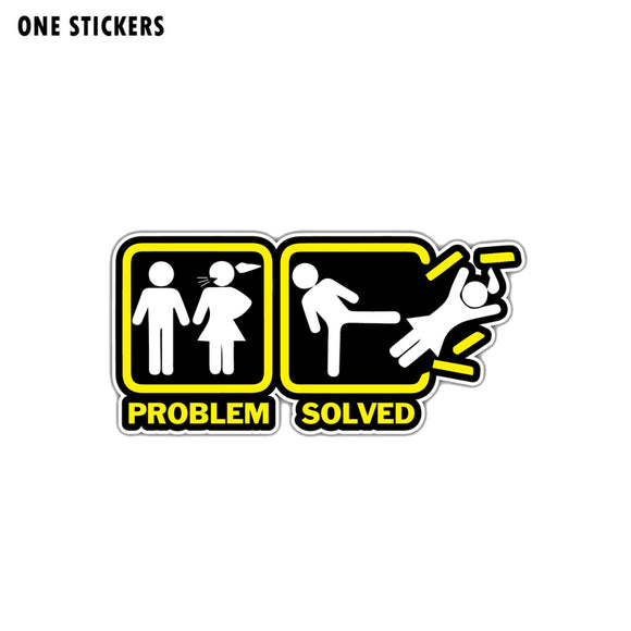 12.9CM*6.1CM Funny Annoying Wife Girlfriend  Problem Solved Car Sticker Decal PVC 12-1361