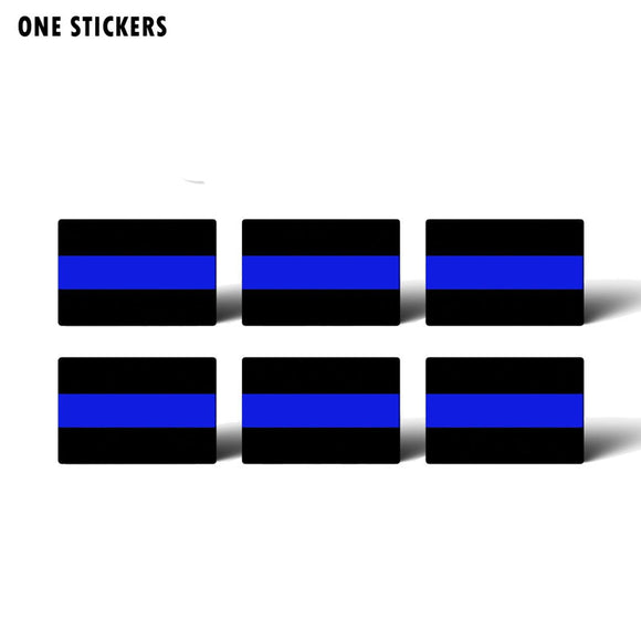6X 4.8CM*3.2CM Reflective Police Blue Car Sticker With A Funny Personality Decal PVC 12-0479