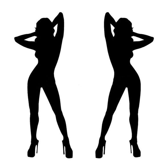 6*15CM One Pair of Hot Sexy Girl Car Stickers And Decals Naked Woman Car Door Stickers C2-0036