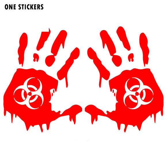 13.5CMX18CM Horror Bloody Hands Zombie Biohazard Vinyl Decals Personalized Car Stickers Red/Black/Silver C1-5017