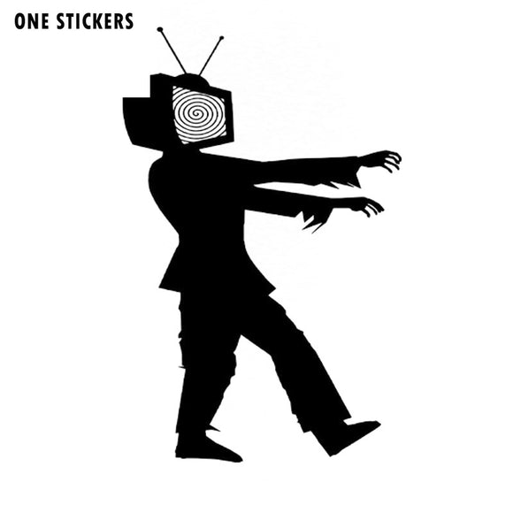 9.5x15CM Funny ZOMBIE Walk Television Vinyl Decals Car-styling Car Sticker Black/Silver S8-1223