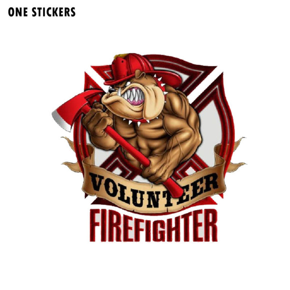 17.8CM*17.2CM Bull Dog Volunteer Firefighter Reflective Decal Car Sticker PVC 12-0501