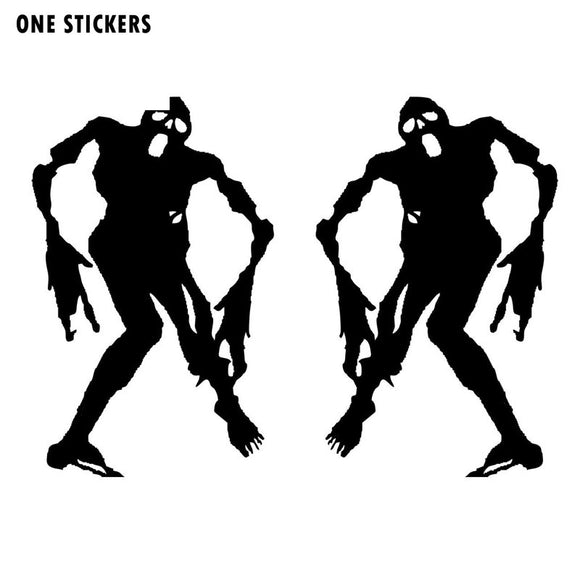 7.3X11.5CM Cartoon Funny ZOMBIE Monster (Left & Right) Silhouette Vinyl Decal Car Sticker Black/Silver Car-styling S8-1249