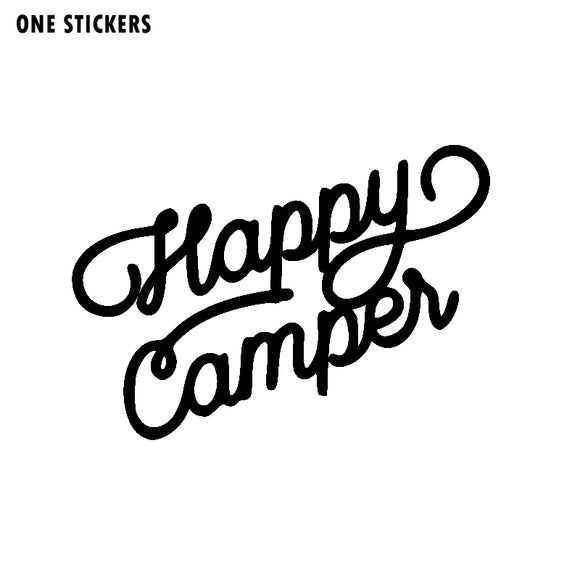 15.2CM*10.8CM For Happy Camper Vinyl Letters Car Sticker Decal Black/Silver Waterproof C11-1337