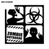 12*12CM Warning ZOMBIE Outbreak Corpse Dead  Vinyl Decal Car Sticker Black/Silver Personality Car-styling S8-1258