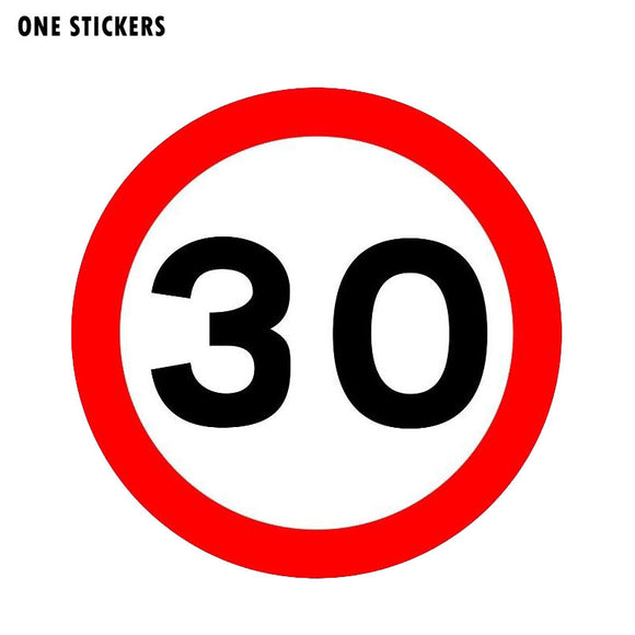 12CM*12CM Warning Slow Down Car Sticker 30 MPH Danger Decal PVC 12-1560