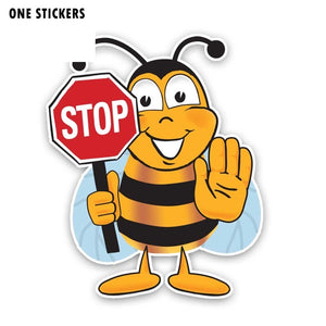 14.2CM*18.2CM BEE STOP Decorate Sticker Car Decal PVC 12-300846